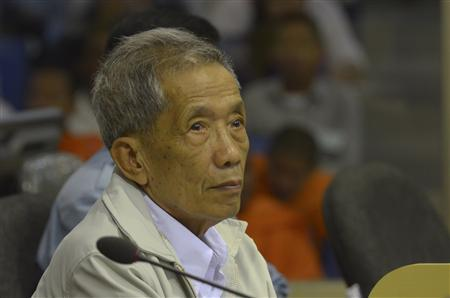 Former Khmer Rouge S-21 prison chief Kaing Guek Eav alias Duch sits in a dock during his appeal hearing at the Court Room of the Extraordinary Chambers in the Courts of Cambodia (ECCC) on the outskirts of Phnom Penh February 3, 2012. REUTERS/Nhet Sokheng/ECCC/Handout