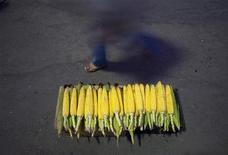Женщина проходит мимо лотка с кукурузой в Тегеране 4 августа 2011. Экспорт украинской кукурузы в Иран упал в январе на 40 процентов из-за проблемы с получением платежей за товар, спровоцированной решением Евросоюза ужесточить санкции к Тегерану, сообщили в пятницу украинские отраслевые аналитики. REUTERS/Morteza Nikoubazl