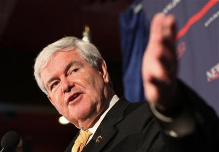 Republican presidential candidate and former U.S. Speaker of the House Newt Gingrich gestures during a campaign appearance at a restaurant in Reno, Nevada February 1, 2012. REUTERS/Robert Galbraith