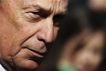 New York City Mayor Michael Bloomberg speaks to the media about a police shooting after a news conference in New York February 3, 2012. REUTERS/Shannon Stapleton