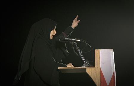 Bahraini poet Ayat al Qormezi delivers a speech during an anti-government rally in Budaiya, a suburb of Manama February 4, 2012.  REUTERS/Caren Firouz