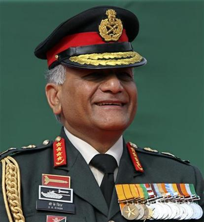 Indian Army chief General Vijay Kumar Singh attends the Army Day parade in New Delhi January 15, 2012. REUTERS/B Mathur