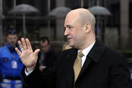 Sweden's Prime Minister Fredrik Reinfeldt arrives at a European Union summit in Brussels January 30, 2012. REUTERS/Eric Vidal