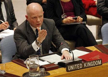 British Foreign Minister William Hague addresses the United Nations Security Council during a meeting at the United Nations in New York January 31, 2012. REUTERS/Mike Segar