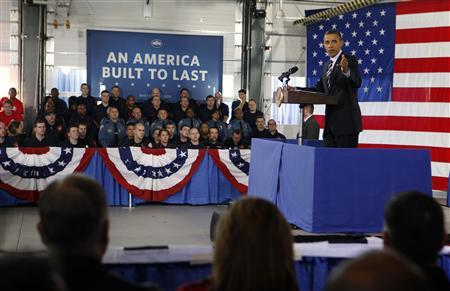 President Obama talks about the economy at Fire Station Number Five in Arlington, Virginia February 3, 2012.     REUTERS/Larry Downing