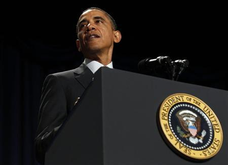 U.S. President Barack Obama talks at the 60th annual National Prayer Breakfast at the Washington Hilton hotel in Washington February 2, 2012.   REUTERS/Larry Downing