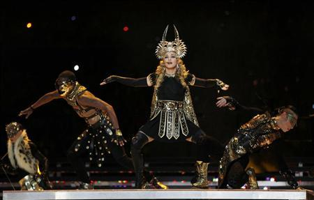 Madonna performs during the halftime show  at the NFL Super Bowl XLVI football game between the New York Giants and the New England Patriots in Indianapolis, Indiana, February 5, 2012.        REUTERS/Jeff Haynes