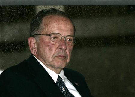 A 2008 file photo shows then Republican Sen. Ted Stevens of Alaska sitting in a van outside the U.S. Federal Courthouse in Washington. REUTERS/Hyungwon Kang