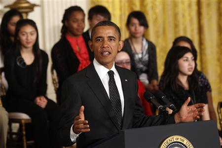 President Barack Obama speaks as he hosts the second White House Science Fair celebrating the student winners of a broad range of science, technology, engineering and math (STEM) competitions from across the country in Washington February 7, 2012.   REUTERS/Kevin Lamarque
