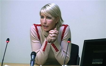 Heather Mills speaking at the Leveson Inquiry at the High Court in central London, February 9, 2012. REUTERS/POOL via Reuters TV