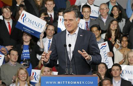 Mitt Romney addresses his Colorado caucus night rally in Denver, Colorado February 7, 2012.   REUTERS/Rick Wilking