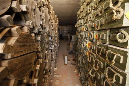 Stockpiles of ordnance inside a Gaddafi ammunition bunker are seen approximately 40 kms (25 miles) southeast of Zintan June 29, 2011. REUTERS/Anis Mili