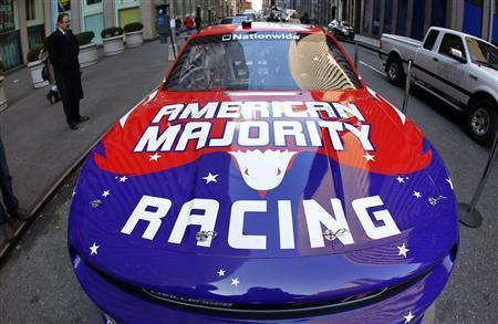 The new NASCAR American Majority Racing team race car is seen in New York City, February 9, 2012.     REUTER/Mike Segar