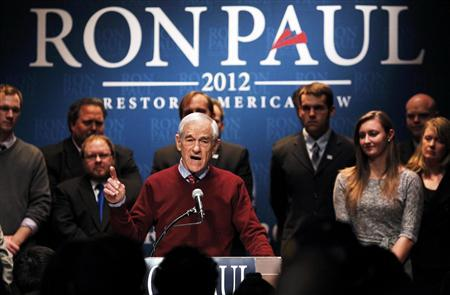 Republican presidential candidate Ron Paul speaks at a rally in Golden Valley, Minnesota February 7, 2012.    REUTERS/Eric Miller