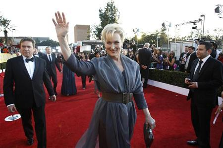 Actress Meryl Streep from the film ''The Iron Lady'' arrives at the 18th annual Screen Actors Guild Awards in Los Angeles, California January 29, 2012.   REUTERS/Mario Anzuoni