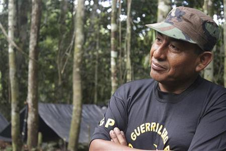 ''Comrade Artemio,'' one of the top leaders of Peru's Shining Path guerrilla group, is seen at a camp in Huallaga valley in the Amazon jungle of Peru in this photo taken on December 2, 2011 and released to Reuters on February 11, 2012.  REUTERS/IDL Reporteros/Handout