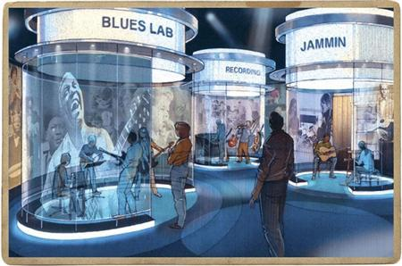 The Blues Lab, seen in this artist's rendering will be the central hub where visitors can utilize a number of interactives, including recording and 'jamming' in an interpretive setting at the National Blues Museum in St. Louis, Missouri, in this undated handout photo from the National Blues Museum website. REUTERS/National Blues Museum/Handout
