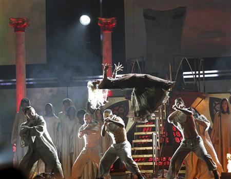 Nicki Minaj performs ''Roman Holiday'' at the 54th annual Grammy Awards in Los Angeles, California, February 12, 2012.    REUTERS/Mario Anzuoni