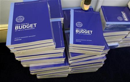 Copies of U.S. President Barack Obama's Fiscal Year 2013 budget are seen stacked inside the House Budget Committee room on Capitol Hill in Washington, February 13, 2012. REUTERS/Larry Downing