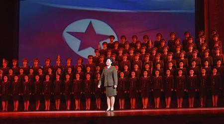 North Korean performers sing during a music and dance performance, ''Let Us Uphold Our Supreme Commander Forever'' at the April 25 House of Culture in Pyongyang January 17, 2012. REUTERS/KCNA