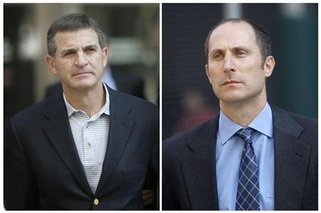 Former investment bank Bear Stearns hedge fund managers, Ralph Cioffi (L) and Matthew Tannin, are escorted by law enforcement officials after being arrested in New York June 19, 2008 in this combination photo. Cioffi and Tannin were arrested and indicted on securities fraud charges on Thursday following a federal criminal probe into the collapse of two funds they oversaw.   REUTERS/Chip East