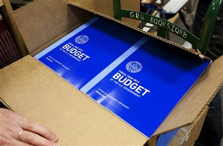 Boxes containing copies of the 2013 Federal Budget are displayed at the Government Printing Office in Washington February 13, 2012.      REUTERS/Joshua Roberts
