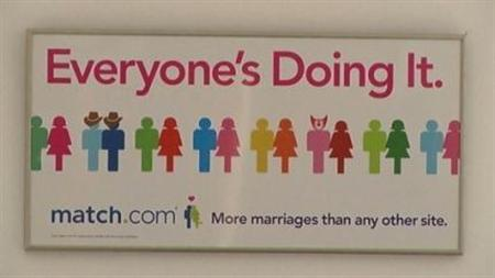 Video screenshot of online dating site Match.com sign obtained on February 14, 2012. REUTERS/VIDEO