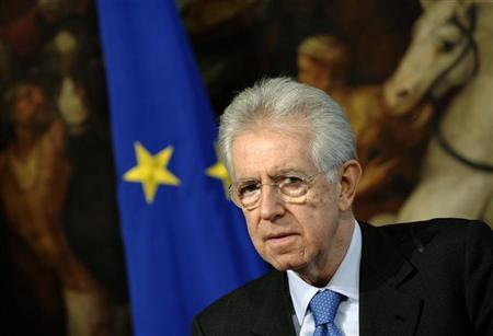 Italian Prime Minister Mario Monti looks on during a meeting with Secretary General of the Organization for Economic Cooperation and Development Angel Gurria at Chigi palace in Rome February 6, 2012.   REUTERS/Stringer