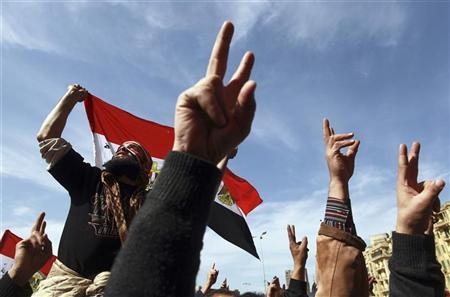 Demonstrators take part in a protest demanding the army to hand power to civilians, at Tahrir square in Cairo February 10, 2012. REUTERS/Mohammed Salem