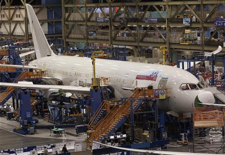 A 787 Dreamliner being manufactured for customer Japan Airlines (JAL) is seen on the production line at the Boeing Commercial Airplane manufacturing facility in Everett, Washington February 14, 2011.  REUTERS/Anthony Bolante