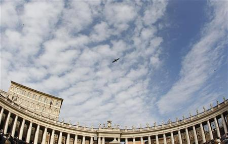 A bird passes overhead while Pope Benedict XVI leads the Sunday angelus prayer in Saint Peter square at the Vatican February 12, 2012. Pope Benedict urged the Syrian government on Sunday to recognise the legitimate aspirations of its people and embark on a national dialogue to put an end to a violent crackdown on protesters which has killed thousands since March. REUTERS/Tony Gentile