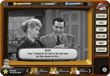 "Actress Lucille Ball and actor Desi Arnaz are shown in a scene from their classic television sitcom ""I Love Lucy"", re-imagined as a video game.  
