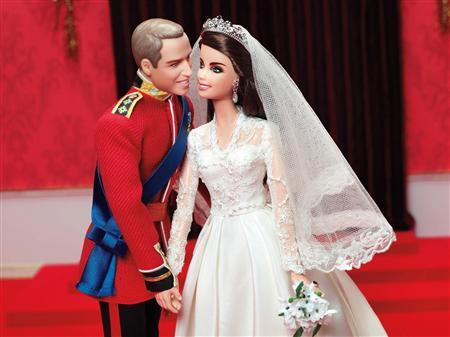 Dolls modelled after Britain's Prince William and Catherine, the Duchess of Cambridge, on their wedding day made by Mattel are pictured in this handout photo received by Reuters February 15, 2012. REUTERS/Mattel/Handout