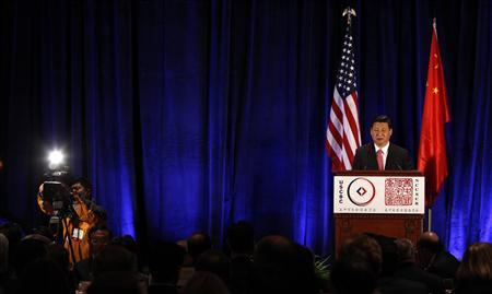 Chinese Vice President Xi Jinping delivers a policy address during an event co-hosted by the US-China Business Council and the National Committee on U.S.-China Relations in Washington February 15, 2012.  REUTERS/Kevin Lamarque