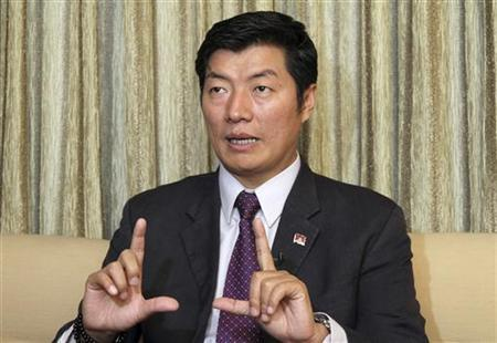 Lobsang Sangay, Prime Minister of the Tibetan government-in-exile, speaks during an interview in New Delhi February 16, 2012. REUTERS/B Mathur