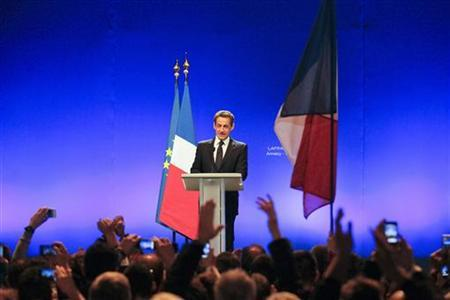 France's President Nicolas Sarkozy delivers his first campaign speech for re-election as the UMP political party candidate for the 2012 French presidential election, at a political rally in Annecy, February 16, 2012.  REUTERS/Robert Pratta
