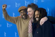 "Neville Garrick (L), Rohan Marley (R) and director Kevin Macdonald pose during a photocall promoting the movie ""Marley"" at the 62nd Berlinale International Film Festival in Berlin February 12, 2012. REUTERS/Thomas Peter"