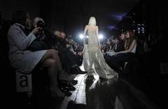 A model presents a creation from the Julien MacDonald Fall/Winter 2011 collection at London Fashion Week, February 21, 2011.  REUTERS/Paul Hackett