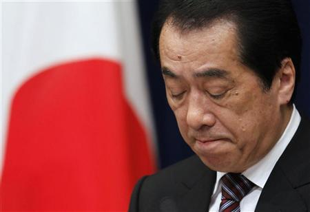 Japan's Prime Minister Naoto Kan attends a news conference on his resignation at his official residence in Tokyo August 26, 2011. REUTERS/Toru Hanai
