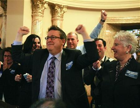 Steven Goldstein, chairman and CEO of Garden State Equality reacts after the New Jersey State Senate passed the ''Marriage Equality and Religious Exemption Act'' in Trenton, New Jersey, February 13, 2012. REUTERS/Tim Shaffer