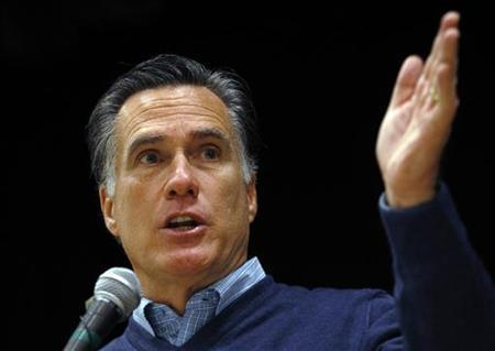 Republican presidential candidate and former Massachusetts Governor Mitt Romney speaks at a Republican Caucus in Portland, Maine February 11, 2012.   REUTERS/Brian Snyder