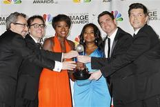 "The director, cast and producers of ""The Help"" (L-R) producers Brunson Green,Chris Columbus, actresses Viola Davis, Octavia Spencer, director Tate Taylor and producer Michael Barnathan pose with the Image Award for best motion picture at the 43rd NAACP Image Awards in Los Angeles, California February 17, 2012.  REUTERS/Fred Prouser"