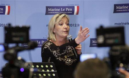 France's far right presidential candidate and National Front party president Marine Le Pen speaks at a news conference during the opening of her presidential convention in Lille February 18, 2012. REUTERS/Pascal Rossignol