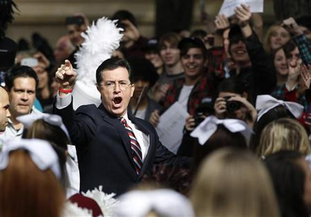 Actor and television host Stephen Colbert arrives to host a South Carolina primary rally with former Republican Presidential candidate Herman Cain, at the College of Charleston, South Carolina, January 20, 2012. The South Carolina Primary will be held on January 21.   REUTERS/Jason Reed