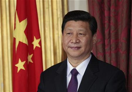 China Vice-President Xi Jinping stands during a trade agreement ceremony between the two countries at Dublin Castle in Dublin, Ireland February 19, 2012. REUTERS/David Moir