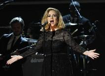 "Adele performs ""Rolling in the Deep"" at the 54th annual Grammy Awards in Los Angeles, California February 12, 2012. REUTERS/Mario Anzuoni"