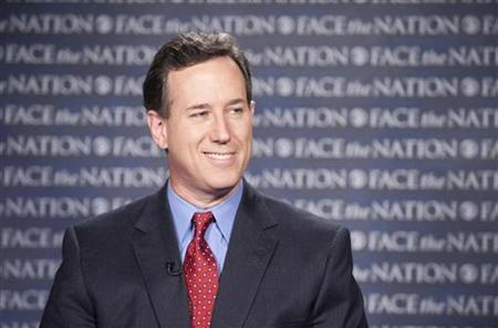 U.S. Republican presidential candidate Rick Santorum is pictured as he appears on ''Face the Nation'' from a remote location in Sterling, Virginia February 19, 2012.   REUTERS/Chris Usher/CBS News/Handout