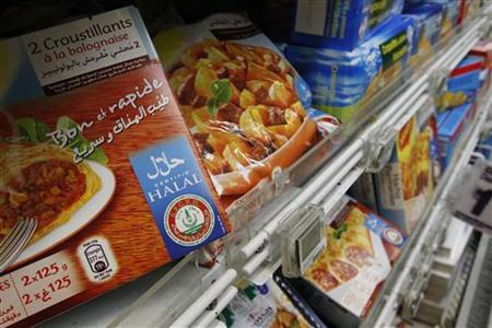 Packages of Halal food are displayed in a supermarket in Nantes, western France, September 7, 2010. REUTERS/Stephane Mahe/Files