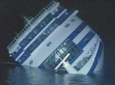 A video grabs shows the Greek-registered Sea Diamond cruiser sinking off Santorini April 6, 2007. REUTERS/ via Reuters TV