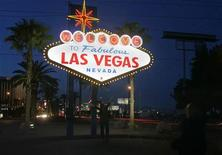 A view of the 'Welcome To Fabulous Las Vegas' neon sign is seen before Earth Hour in Las Vegas, Nevada, March 27, 2010.  REUTERS/Richard Brian